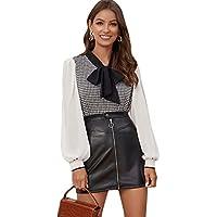 Milumia Women Tie Neck Long Sleeve Elegant Blouse Shirt Top
