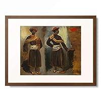 ウジェーヌ・ドラクロワ Ferdinand Victor Eugene Delacroix 「Two Studies of a Standing Indian from Calcutta, ca. 1823」 額装アート作品