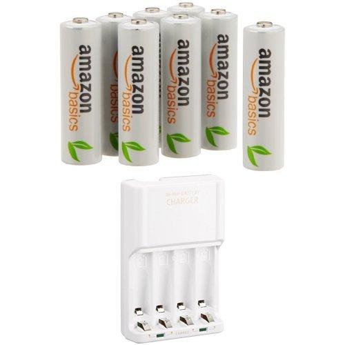 Amazonベーシック 充電式ニッケル水素電池 充電器セット 単3形充電池8個パック付