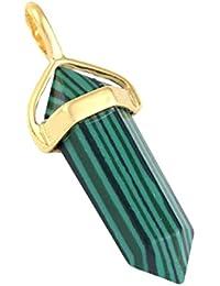 SODIAL(R)シックな六角柱ビーズストーンペンダント ネックレス用 - ゴールドトーン マラカイト