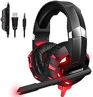 RUNMUS Gaming Headset Headset ps4 Headphones ps3 Headphones with Mic Lightweight Noise Reducing PC Headset Gam
