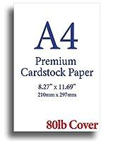 厚手 ホワイト A4 (8.3インチ x 11.7インチ) 厚手 80ポンド カバー (216gsm) 100 Sheets ホワイト