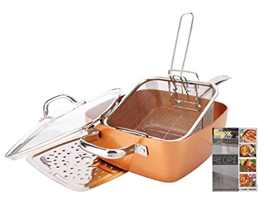 妻仮定、想定。推測広々としたNon-Stick Copper Titanium Chef 5 Piece 24cm Square Pan Set
