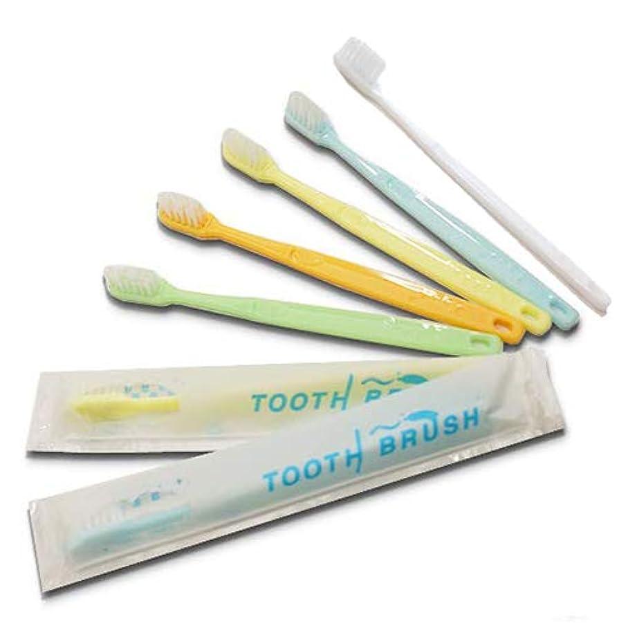 将来のトレイラインナップホテルアメニティ 業務用 インスタント歯ブラシ粉付着タイプ(5色アソート) ×300本