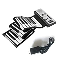 61キー電子ピアノキーボードシリコンフレックスロールアップデジタルピアノ128トーン子供のためのおもちゃ学習初心者教育玩具