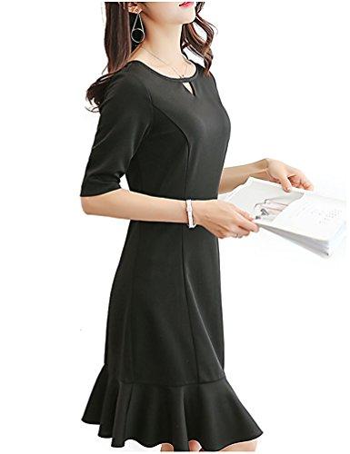 BolanVerl ブラックフォーマル ワンピース Vネック ブラック 黒 フリル 裾切り替え 卒園式 ドレス 発表会 礼服 フォーマルスーツ 女性