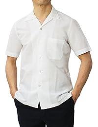 Finamore BART コットン リネン オープンカラー 半袖 シャツ
