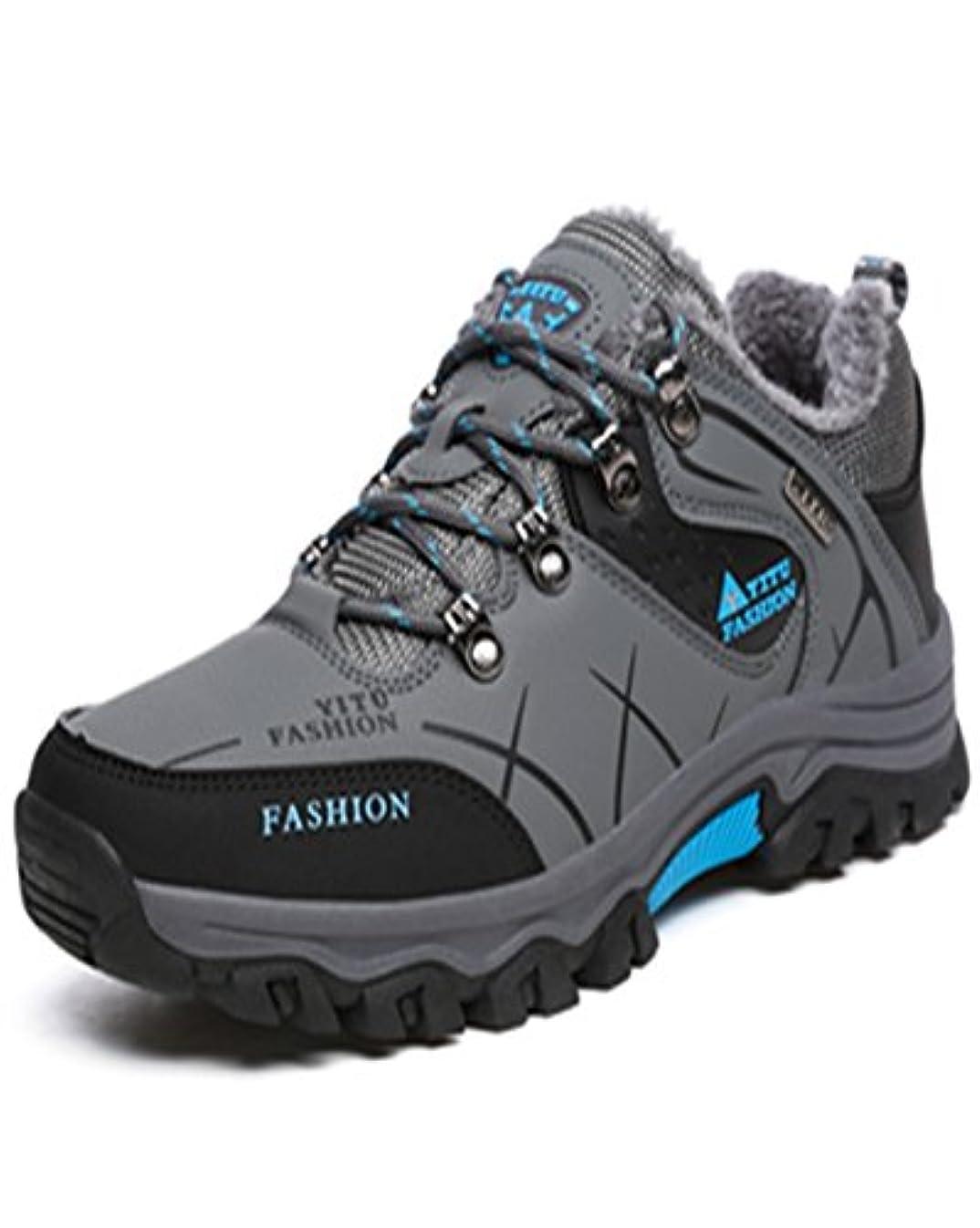 トランペット一部津波トレッキングシューズ 登山靴 メンズ  ハイキングシューズ 防水 防滑 ウォーキングシューズ アウトドア トラベル ハイカット キャンプ シューズ 暖かい靴 大きいサイズ クッション性/通気性  グレー裏起毛 26.5CM