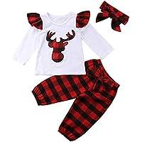 Newborn Baby Boy Girl Christmas Outfit Deer Deer Long Sleeve T-Shirt Tops Plaid Long Pants with Headband Clothes Set