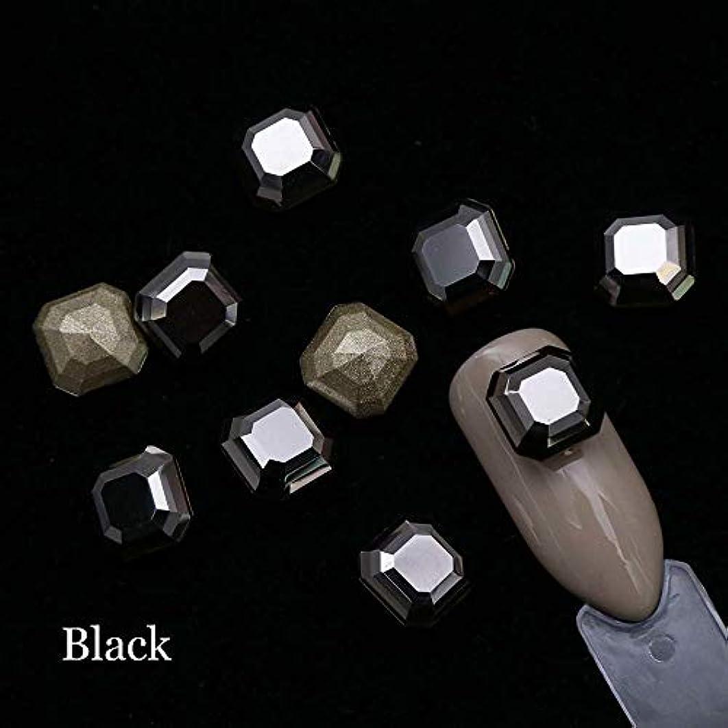 バズ狭い所得10ピースクリスタルネイルラインストーン8ミリメートル鋭い底スクエアネイルジュエリービーズ3 Dガラスストラスマニキュアネイルアートの装飾SA1004黒
