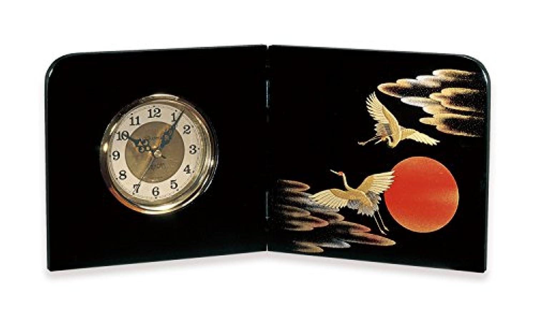 紀州のぬりもの 屏風 時計 日の出鶴 22-87-1 おしゃれ インテリア アナログ アンティーク 和風 漆器 日本製