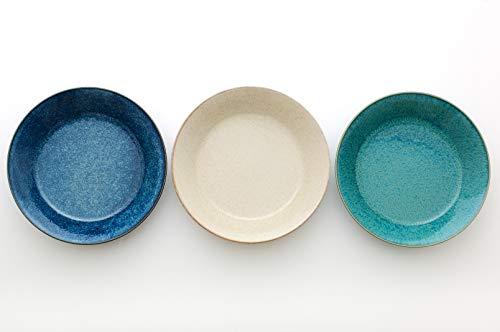 アイトー(Aito) カレー皿 ブルー・ホワイト・グリーン 20.8×4.3cm ナチュラルカラーカレー&パスタ皿(3色組)