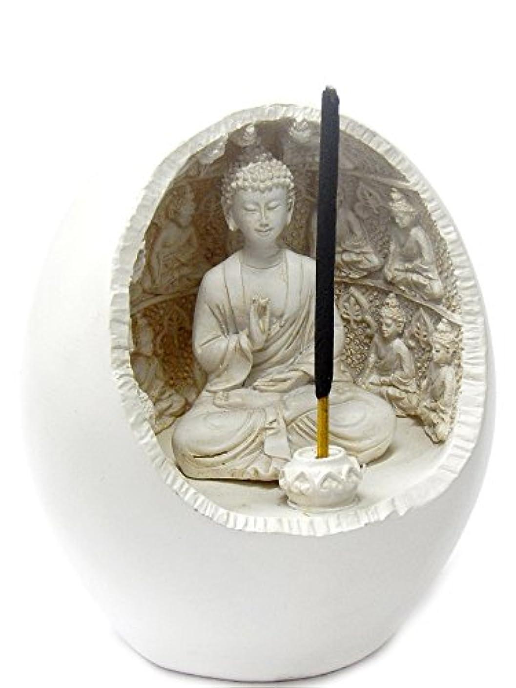 偏心悪性パフBuddha Incense Sticks Holder Meditation Figurine