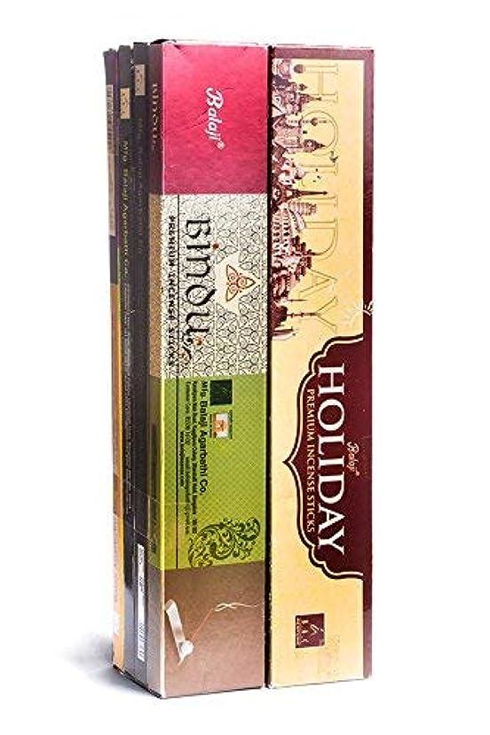 ピストン決定的夜明けBalaji Incense Sticks - Combo Pack of 12 Different Fragrances - 140 Agarbatti Sticks. Bindu, Masala Chandan, Flora...