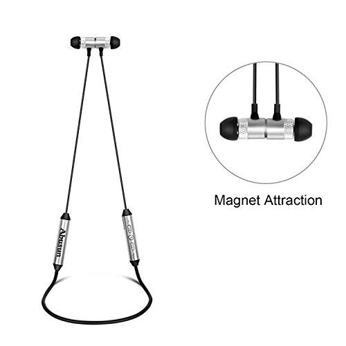 Abusun Bluetooth 4.1 ワイヤレスステレオイヤホン スポーツイヤホン 独立したバッテリーパック 高音質 防汗 ヘッドセットイヤホン iPhone/Samsung Galaxy/Sony/HTCなどもっとよりスマホ対応 (シルバー)