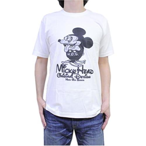 【ノーブランド品】『Mickey Head』デザイン ねずみ R TFINK パロディー おもしろデザイン コミカル Tシャツ comical-028 (M, 黒(Black))