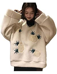 (ジャンーウェ)レディース パーカー フィックスムートン もこもこ プルオーバー 裏起毛 パイナップル柄 ゆったり 秋冬 アウター おしゃれ クリスマス フリーサイズ 3色