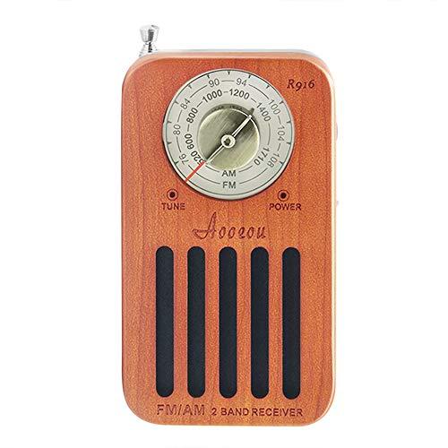 ラジオ ワイドFM AM FM対応 小型 ポータブル ポケットサイズ 防災 ラジオ コンパクト高感度 簡単操作 木製 単三 乾電池式 チェリー