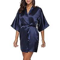 Cimaybeauty Women's Casual Solid 1/2 Sleeved V-Neck Bandage Satin Sleepwear Mini Dress Satin Sleepwear Lingerie Sleepwear Satin