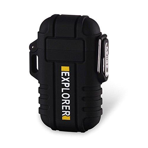 電子ライター 防水仕様 USB 充電式 ダブルアークライター ガス オイル 不要軽量薄型 持ちやすい 無炎 防風 電気アークプラズマライター 誕生日などのプレゼントも最適 ブラック