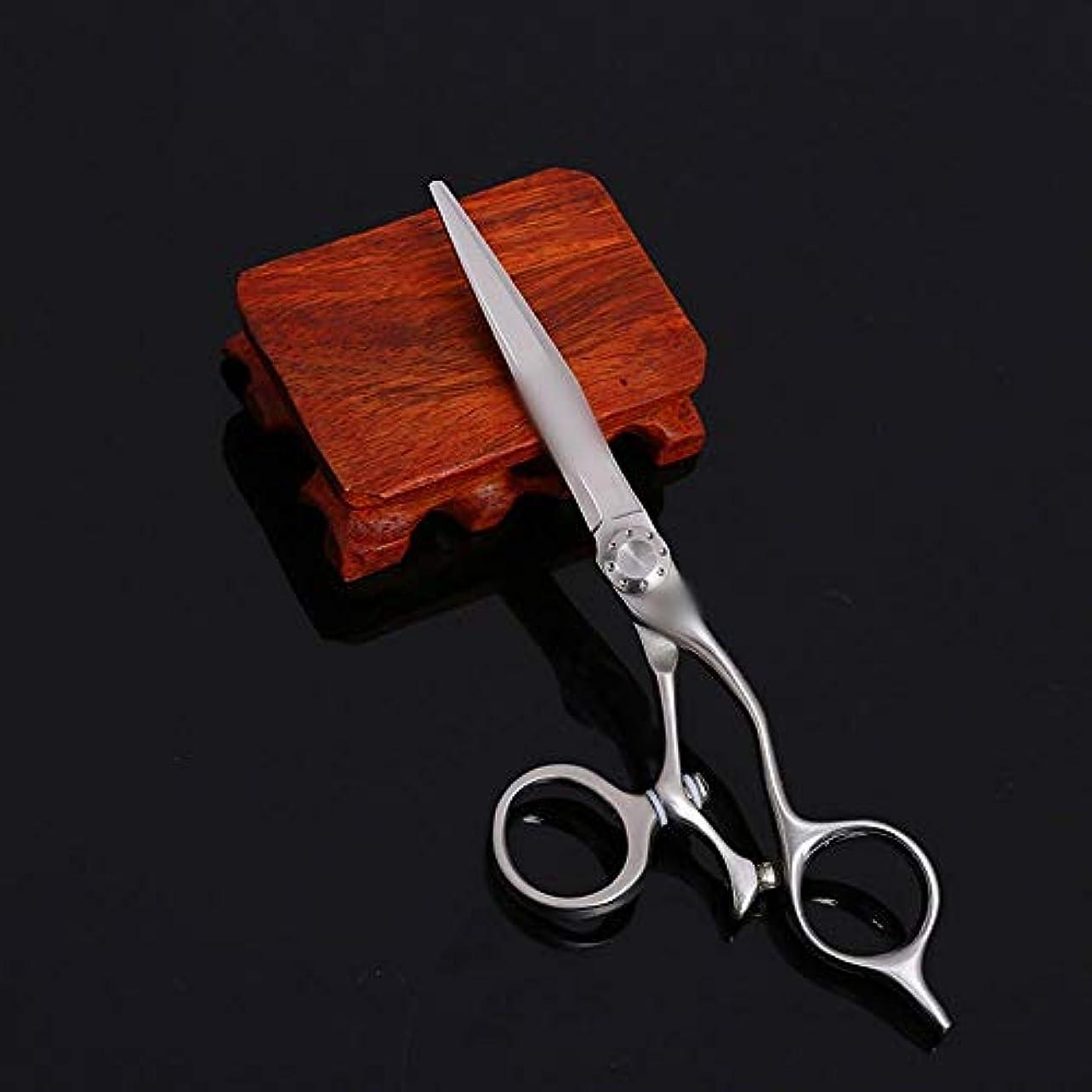 恐怖症モーターフォルダ6インチプロフェッショナルヘアカットシザーステンレス鋼フラットシザー理髪はさみ ヘアケア (色 : Silver)