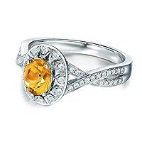 アディサー【Adisaer】レディース ジュエリー 純銀製 シルバー S2706 婚約指輪 黄色 人工 シトリン キュービックジルコニア 11月の誕生石 日本サイズ 17 きらきら ダイヤモンド 婚約 結婚式 プレゼント