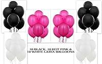 12 Hot Pink 12 Black 12 White Party Balloon Kit by Thavornshop