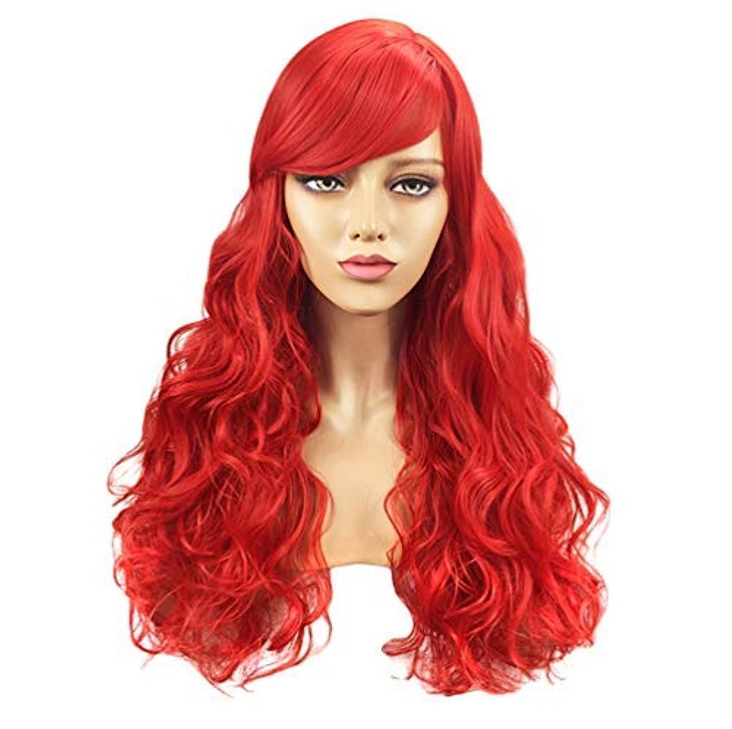 電球ジャグリングベット女性150%密度かつらリアルな合成波状かつらオンブルヘアウィッグ合成かつら赤70cm