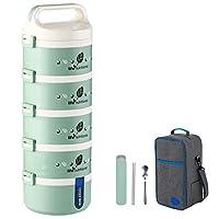保温弁当箱 お弁当 多層 大容量 保温食箱桶 ランチボックス ステンレスランチジャー 食事箱 持ち運びが簡単 学校 ピクニックキャンプ (Color : Green, Size : 5 layer)