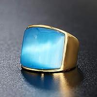 キャッツアイストーンチタン鋼リング、男性と女性のカップルの結婚指輪お土産ハロウィーンギフト6色-blue-#7