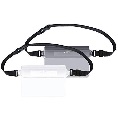 【2個セット】AUKEY 防水ポーチ ケース アウトドアウエストバッグ 防水バッグ スマホ用 釣り 携帯ケース PVC素材 iPhone 7/7 Plus/6S Plus/ Samsung Galaxy/Nexus/Sonyなど対応 ブラックと透明 PC-T12