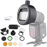 Godox AK-R1 Round Head Accessories Kit with S-R1 Flash Head Adapter - Compatible with Godox V860II TT685 TT600 and Canon Nikon Sony Camera Flash Speedlight