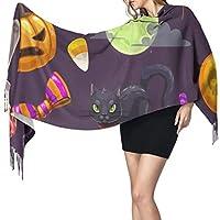 漫画のハロウィーンの女性の毛布冬のスカーフ暖かいラップ特大ショールケープ77x27インチ
