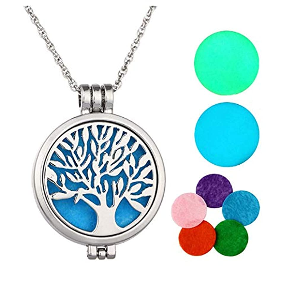 MJARTORIA Vintage Tree of Lifeグローin theダークAromatherapy Essential Oil Diffuserロケットペンダントネックレス