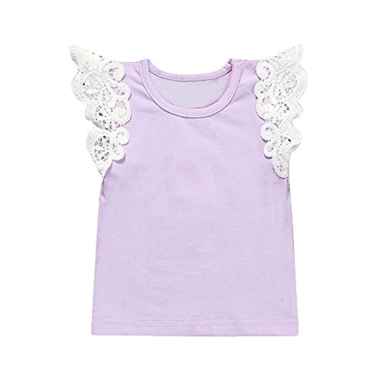 Tovadoo 子供服 ベビー服 女の子 トップス tシャツ 春夏 フレアスリーブ レース 無地 プリンセス 多色 可愛い プレゼント 3ヶ月-3歳