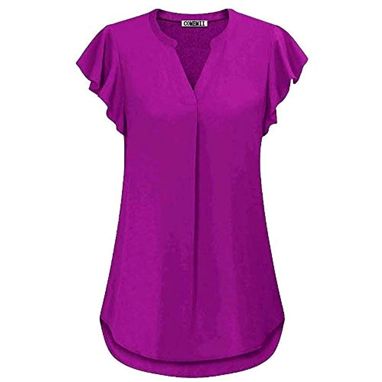 逃れる所持電卓MIFAN女性ブラウス、シフォンブラウス、カジュアルTシャツ、ゆったりしたTシャツ、夏用トップス、シフォンシャツ、半袖、プラスサイズのファッション