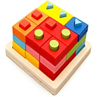 Anone 28個木製教育Sorting Stacking Toys幾何ボードブロック図形ベビーLearn色と形状for Kids
