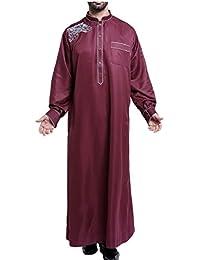 maweisong Men's Round Neck Long Sleeve Saudi Arab Thobe Islamic Muslim Dubai Robe