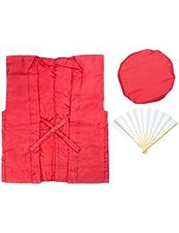 (キョウエツ) KYOETSU 祝還暦 赤ちゃんちゃんこお祝いセット 3点セット (ちゃんちゃんこ/頭巾/扇子/) 敬老の日 父の日