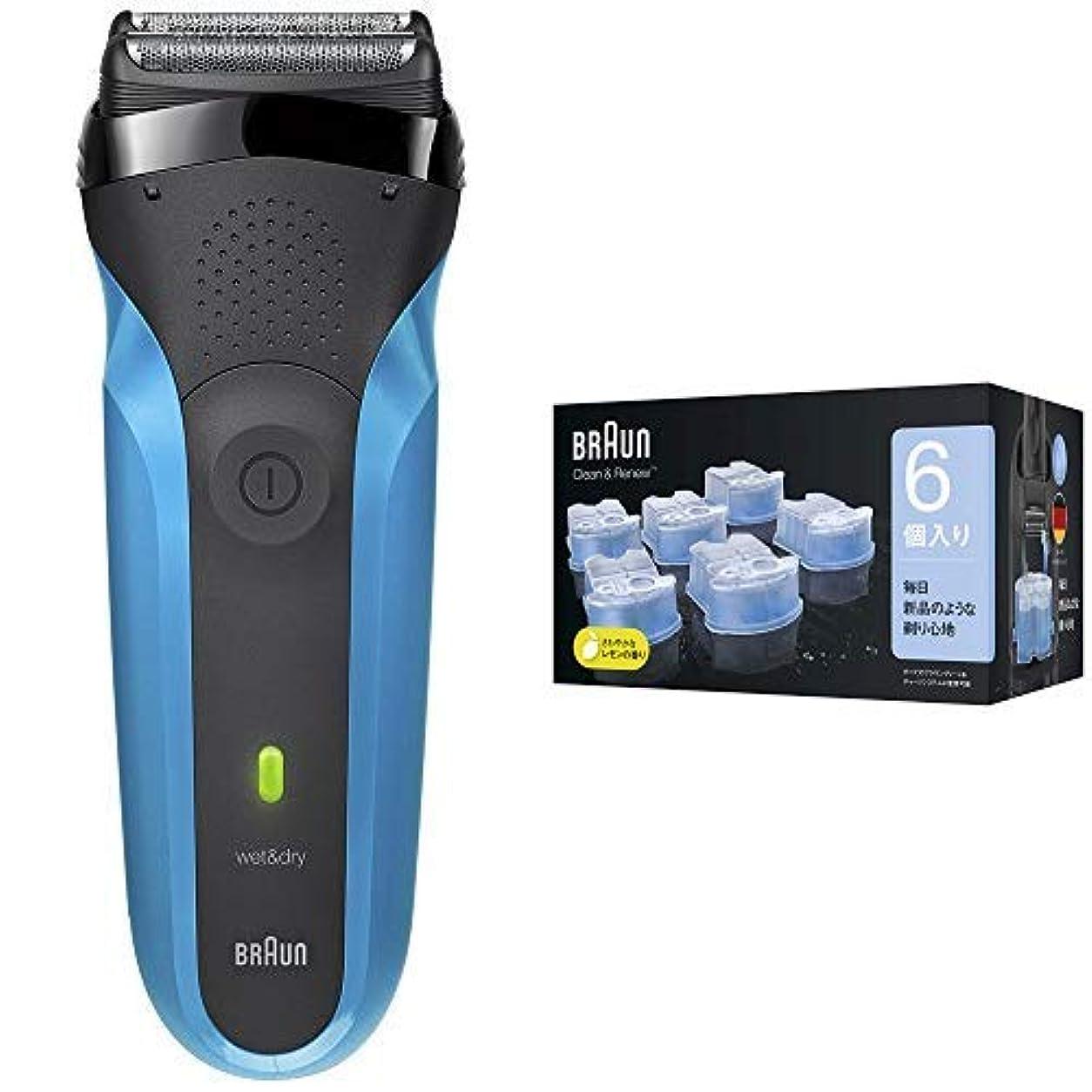 マットエキス資金ブラウン メンズ電気シェーバー シリーズ3 310s 3枚刃 水洗い/お風呂剃り可 & アルコール洗浄液 (6個入) メンズシェーバー用 CCR6 CR【正規品】