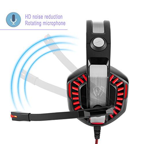 Beexcellent ゲーミングヘッドセットPS4 Xbox One に適用します ヘッドホン サラウンドサウンド ゲー 騒音抑制 マイク付 USB接続 PC Mac(レッド)