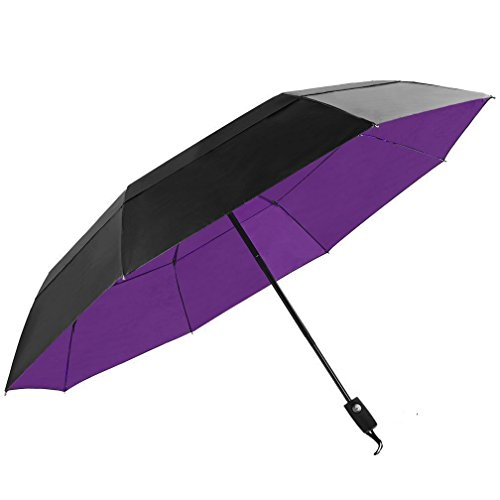 KOLER 折りたたみ傘 2重構造 風防 梅雨対策 ワンタッチ自動開閉 折り畳み傘 大型 118cm 耐強風 210T撥水加工 収納ケース付