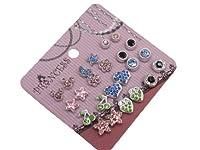 Pack of 12 Color Crystal Magnetic Stud Earrings for Girls Kids [B] 【You&Me】 [並行輸入品]