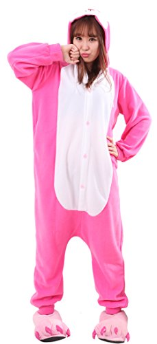 Honeystore 着ぐるみ 連体服 パジャマ 動物コスチューム 動物仮装 動物パジャマ ハロウィン コスチューム うさぎ着ぐるみ L ピンク