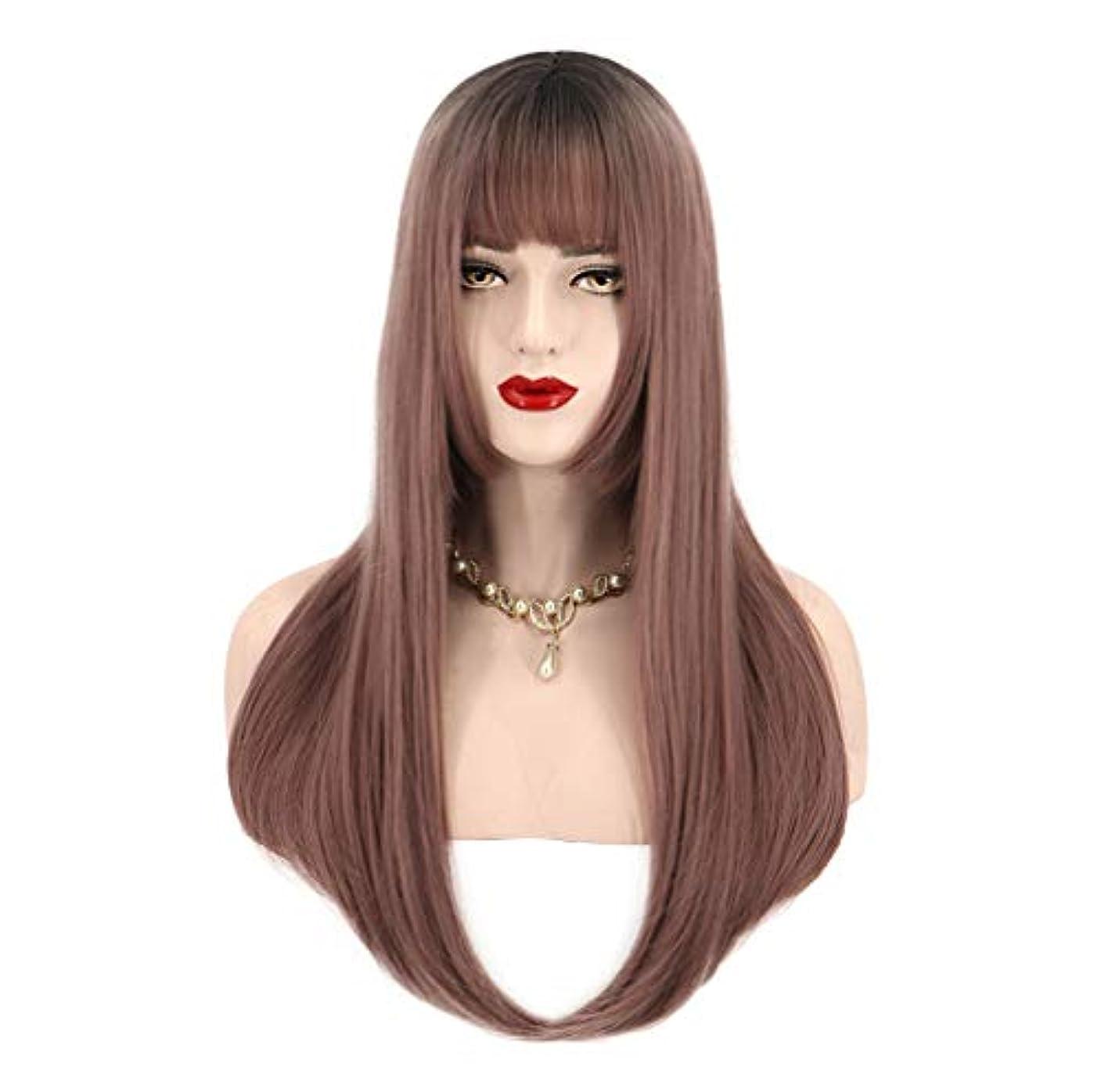 核カンガルー近所の女性用人工毛ウィッグロングストレート耐熱性毛先取り済み150%密度ブラウン65cm