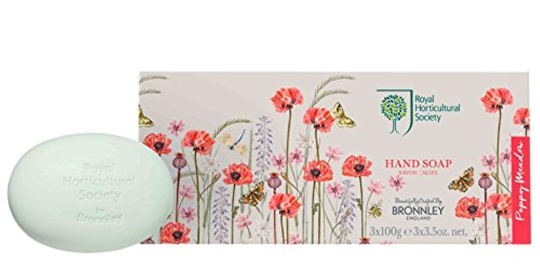 酸っぱいせっかち本物のRHS Poppy Meadow – Soap Collection 3 x 100g
