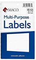 MACO White Rectangular Multi-Purpose Labels 3/8 x 1-1/4 Inches 1000 Per Box (MS-620) [並行輸入品]