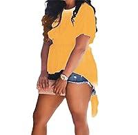 AngelSpace 女性トレンディソリッドカラーショートスリーブ背部非対称Tシャツ Yellow S