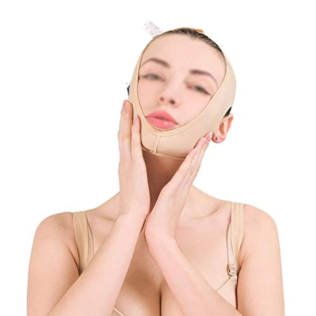 山積みの胃定期的マスク減量、肌の包帯を引き締めるリフティングフェイスバンド、フェイスリフティング、ダブルチンビューティバンデージ、フェイスリフト(サイズ:L),M