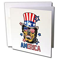 Patriotic American Dogs – Rottweiler With American Flagサングラスand Tophatアメリカ犬 – グリーティングカード Set of 6 Greeting Cards